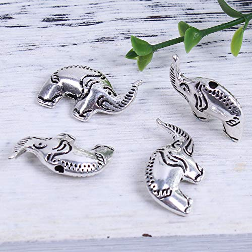 PEPPERLONELY 20pc Antiqued Silver Alloy Beads Elephant Animal Charms Pendants24 x16mm(1