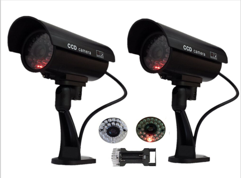 Dummy Cameras Trendmart® Waterproof Fake Surveillance Security Camera with LED Light Flashes ( 2 pack)