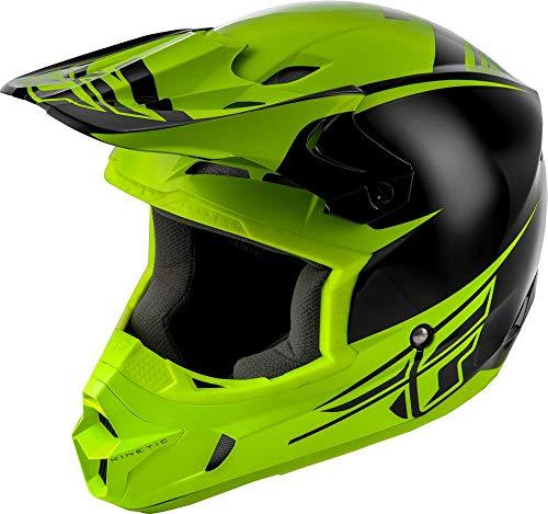 Vis Racing Types - Fly Racing Kinetic Sharp Youth Helmet Black/Hi-Vis (Green, Medium)