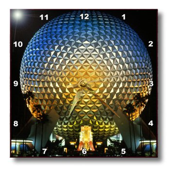 3dRose dpp_89024_1 Florida, Orlando, Epcot Center at Walt Disney World US10 BBA0072 Bill Bachmann Wall Clock, 10 by - Orlando Outlet Centers