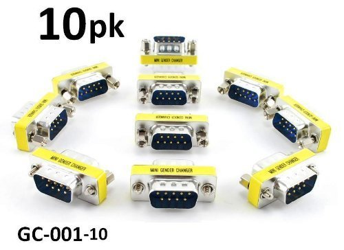 CablesOnline 10-PACK DB9 Serial Male/Male Slim Type Gender Changer (GC-001) (Gender Profile Changer Low)