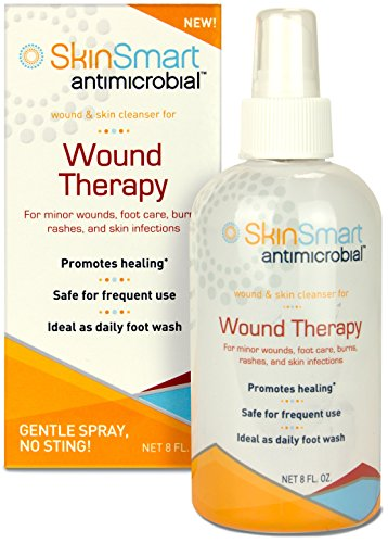 New! SkinSmart Antimicrobial Wound Therapy, 8 oz. Clear, Non-Irritating Spray. For WOUNDS, ACNE, FOOT CARE, INFECTIONS, RASHES, HIVES, DIABETIC FOOT WOUNDS, SHINGLES. (Wound Care Healing)