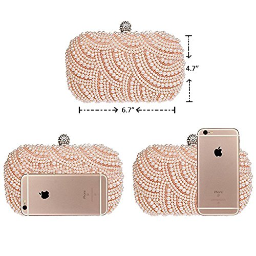 Party Champagne Evening Bags Handmade Bag Pearl Womens Clutch Beaded Satin Evening Albabara FqwSHYZPW