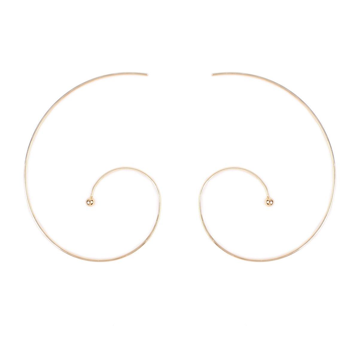 RIAH FASHION Lightweight Geometric Hoop Earrings - Classic Brass Wire Threader Dangles (Swirl Gold)