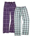 Boxercraft Women's 2-Piece Flannel Pants Set, XL, PurpleSparkle/MintGrey