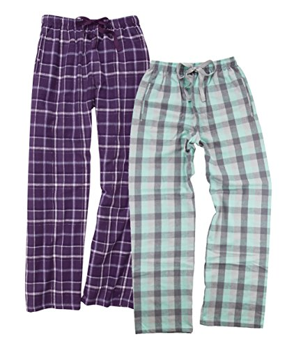 Boxercraft Women's 2-Piece Flannel Pants Set, XL, PurpleSparkle/MintGrey