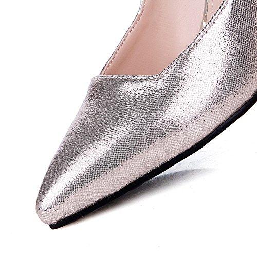 Amoonyfashion Donna Materiale Morbido Tira Su Punta A Punta Tacchi Alti Pompe-scarpe Solide Oro
