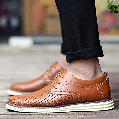 H Informal para con Respirable Brogue Calzado Hombre Mastery Derby Casual Boda Zapatos Negocios Oxford de Cuero Marrón Vestir Cordones XFxXOqr