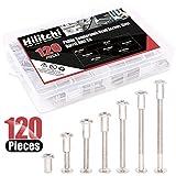 Hilitchi 120-Pcs M6 x 25/35 / 45/55 / 65 / 75mm Rivet Phillip Countersunk Head Screws Bolts Dowel Barrel Nuts Assortment Kit for Furniture Hardware Fitting
