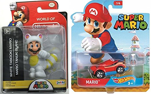 Cartoon Hot Wheels Character Car 2017 Super Mario Video Game Car & Figure White Tanooki Mario World of Nintendo Pack