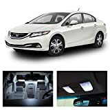Honda Civic 2013-2015 White LED Package Kit - Interior + Tag+ Reverse Lights (8 Pieces)