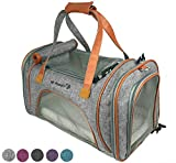 Mr. Peanut's Airline Approved Soft Sided Pet Carrier, Low Profile Luxury Travel Tote with Fleece Bedding & Safety Lock, Under Seat Compatability, Perfect for Cats and Small Dogs (Platinum Gray)