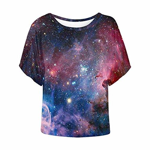 INTERESTPRINT Women Loose Casual Short Sleeve Top T-Shirt Blouse Nebula S