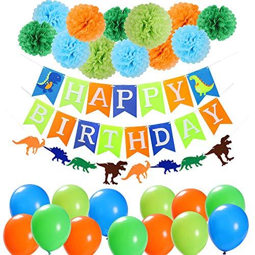 Jblcc Dinosaur Party Supplies Decorations - Dinosaur Happy Birthday Banner, Dinosaur Felt Garland,Tissue pom pom flowers,Dinosaur theme latex Balloons for Child Birthday Party Decorations]()