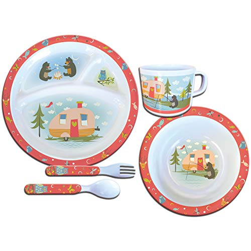 - Camp Casual Multi-Color 5-Piece CC-002 Kids 5 Pc Dish Set