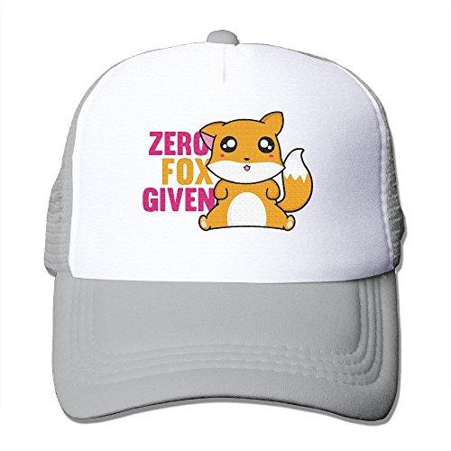 Men's Cute Animal Zero Fox Given Baseball Ball Pratical Mesh Sport Hat Ash
