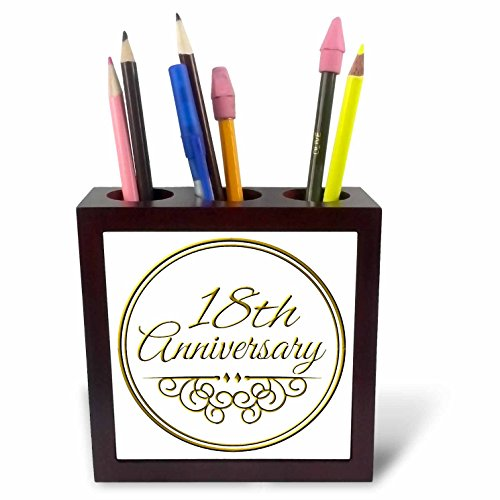 3dRose ph_154460_1 18th Anniversary Gift Gold Text for Celebrating Wedding Anniversaries 18 Years Married Together Tile Pen Holder, 5