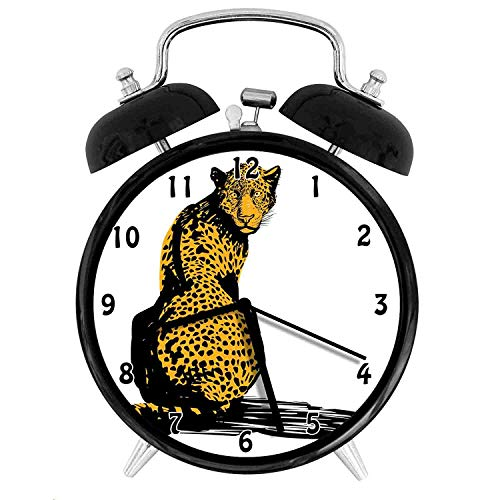 (47BuyZHJX Decoration-Stylized Sketch Leopard Dangerous Carnivore Wildcat with Shadow,Retro Style 4