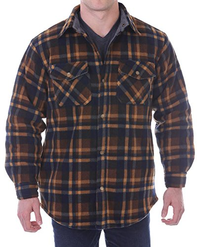 Woodland Supply Co. Mens' Thermal Lined Plaid Outerwear Shirt Jacket,Medium,Dark Brown/Blue