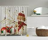 Snowman Shower Curtain Ambesonne Winter Holiday Snowman Polyster 69-Inch-by-70-Inch Shower Curtain, Red/White/Green/Gold/Khaki