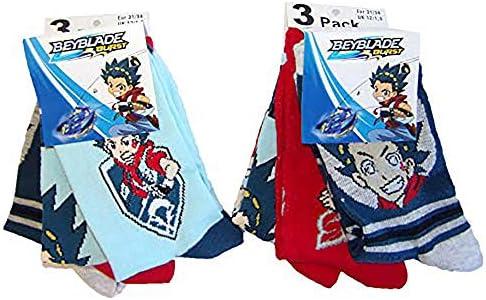 Beyblade Burst Let it Rip! Socken blau, rot, dunkelblau/grau mit verschiedenen Motiven von Valt und Shu, für Kinder, Jungen als 6er Pack, Größen 23/26, 27/30, 31/34
