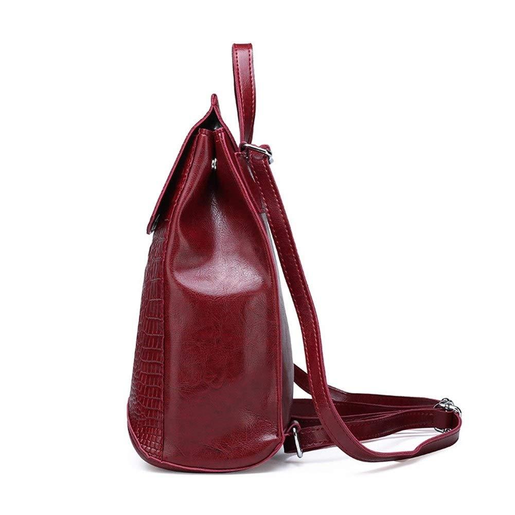 ZYSTMCQZ Vattentätt läder mode kvinna vintage krokodil kvinnor ryggsäck resa axelväska skolväskor för flickor (färg: svart) Vinröd