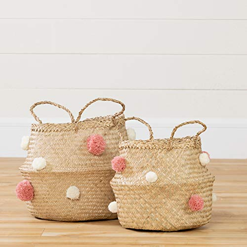 South Shore 100390 Storit Woven Belly Baskets-Set of 2 -Natural Seagrass, White and Pink