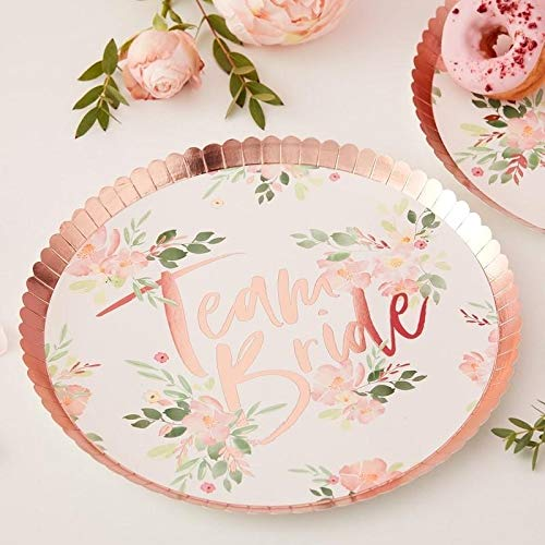 Ginger Ray Floral Rose Gold Foiled Team Bride Hen Party Paper Plates - 8 Pack - Floral Hen, Multi