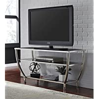 Blasical Contemporary Black Glass Top with Chrome Finish Steel Frame TV Stand