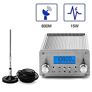 Radio FM Transmitter, Elikliv 5W / 15W PLL 87~108MHz LCD Wireless Radio Stereo Broadcast with Telescopic Antenna, FM… MP3 and MP4 Player Accessories