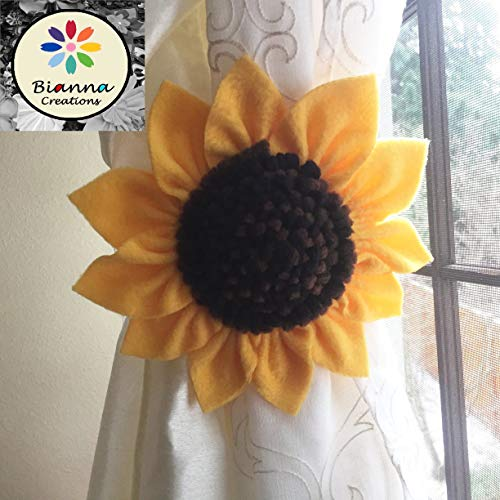 "ONE Kanzashi Sunflower Curtain Tieback, Handmade 6"" Golden Yellow Brown Black Flower Nursery Holdback Home Decoration, Floral Baby Shower Gift Decor Idea, Spring Accent Wedding Decor"