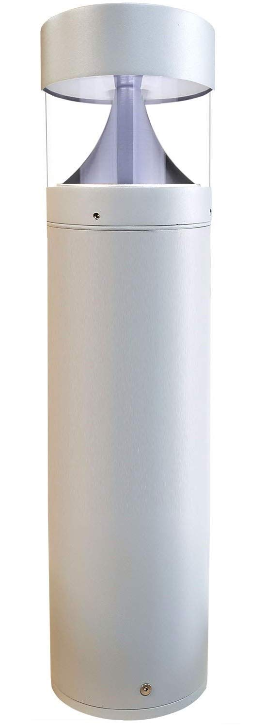 LED Grey Bollard Landscape Lights 25'' 10W 3000K 120-277V Commercial/Residential Lighting Fixture for Garden, Pathway, Driveway. Rated IP65 Suitable for Wet Locations, ETL Listed