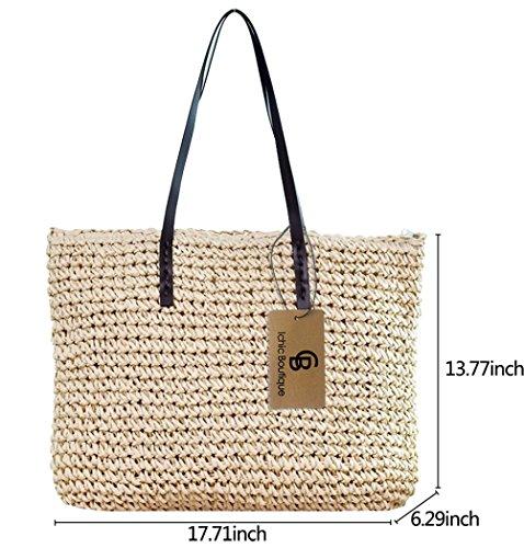 Bag Beige Womens Bag Summer Handbag Beach Purse Tote Girl's Straw Shoulder Fashion qfF4rft