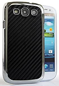 CASEiLIKE ® - BLACK - Carbon Fiber Silver Chrome Snap-on hard case back cover for Samsung Galaxy S3 / S 3 / S III / i9300 -- with SCREEN PROTECTOR 1pcs.