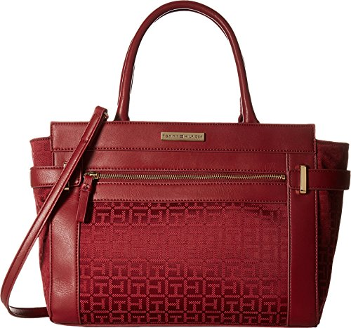 89abc571e1c Tommy Hilfiger Women's Savanna – Monogram Jacquard Convertible Shopper Dark  Cherry Tonal Handbag | Anna's Collection