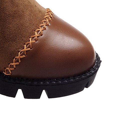 Toe Women's Allhqfashion Round Blend Materials Heels Kitten Closed Brown Solid Boots Zipper rzw0dqrF