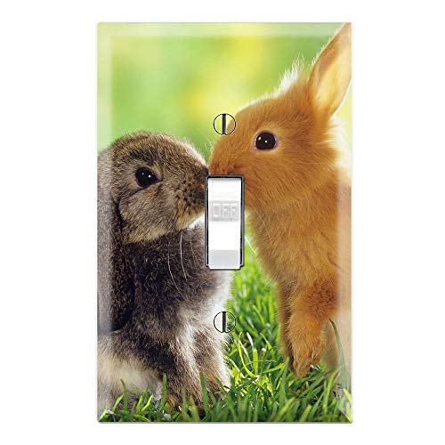 Sweet Rabbits Bunny Kisses Decorative Single Toggle Light Switch Wall Plate