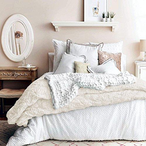 Artisan De Luxe Bedding Quilted 3pc Comforter Set Rich Texture Rushed Embroidered Pintuck Flower French Country Style (Linen, Queen)