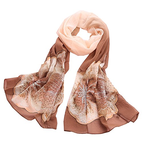 Beaded Embroidered Shawl Scarf Wrap (TLH Women's 100% Silk Gradient Color Embroidered and beaded Scarf Wrap Shawl)