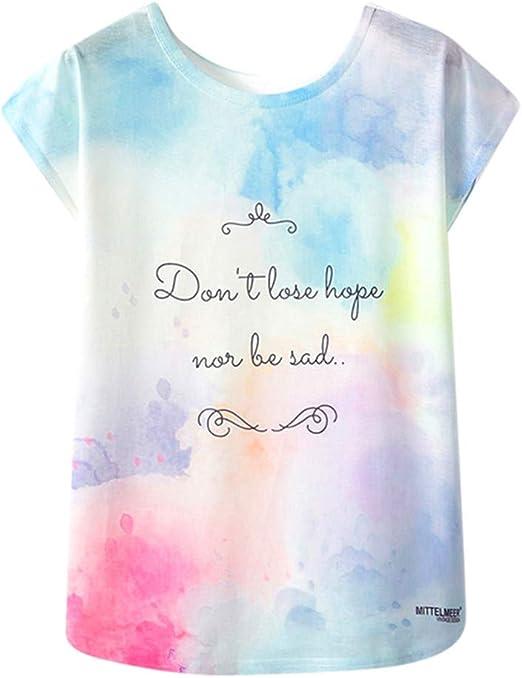 Casual Camisa Tees De Manga Corta Blusas Pullover T-Shirt Camiseta Mujer algodón Tallas Grandes Verano Camisetas Impresión para Mujer Camisa de Manga Corta Blusa Mujer Tops t-Shirt: Amazon.es: Ropa y accesorios