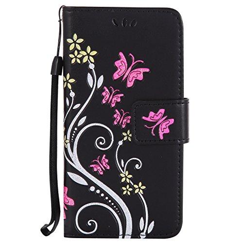 Coque Sony Xperia Z5 Compact, Lomogo Housse en Cuir Portefeuille avec Porte Carte Fermeture par Rabat Aimant Anti Choc Fleur Etui de Protection pour Sony Xperia Z5 Compact - HOHA23368 Or Rose Noir