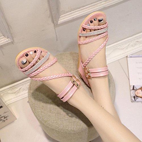 Sandalias de mujer, Internet Sandalias cómodas del verano plano de las mujeres Rosa