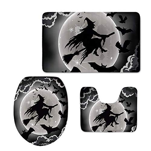 HUGS IDEA Halloween Decor Bath Rug Set Non-Slip Absorbent Bathroom Mat Contour Rug Toilet Lid Cover Flying Witch Pattern -
