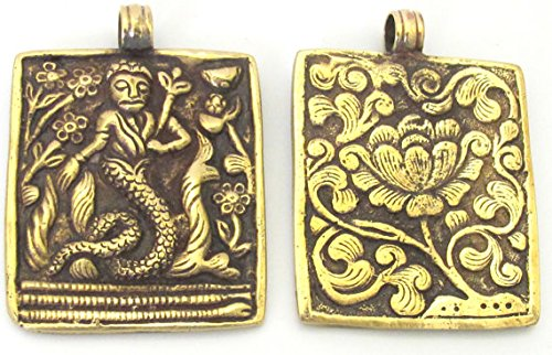 1 Pendant - Beautiful Reversible Tibetan Brass Mermaid pendant with reverse Lotus flower carving - CP073 ()