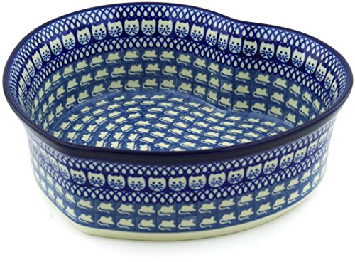 - Polish Pottery 9¾-inch Heart Shaped Bowl made by Ceramika Artystyczna (Cat And Mouse Brigade Theme) Signature UNIKAT + Certificate of Authenticity