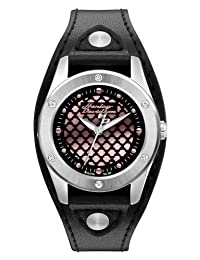 Harley-Davidson Women's Stainless Steel Black Leather Watch, Pink Logo 76L163 by Harley-Davidson
