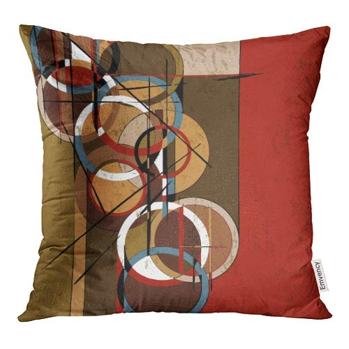 Emvency Decorative Throw Pillow Covers Red Oil Abstract Circle Retro Vintage Paint Strokes and Splashes Brown Modern Pillowcase Cushion Cover Case Protectors Sofa 18x18 Inches Double Sided ()