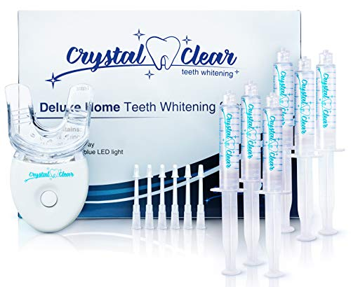Teeth Whitening Kit, Crystal Clear Teeth Whitening Gel (6 Pack) MADE IN USA! Dentists & FDA APPROVED.Money Back Guaranteed. #1 Safe 35% Carbamide Peroxide+LED light.30+uses,Effective,fast,hismile,snow