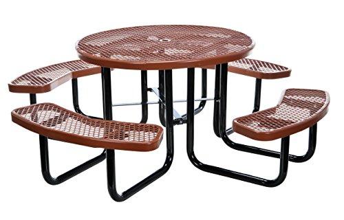 Vestil PT-MX-RT-46-BN Metal Round Picnic Table, 81-1/4