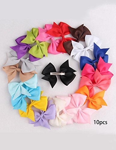 gonikm 10pcs Girls Ribbon Bow Hair Clip Kids Alligator Clips Party Hair Accessories Facial Hair for Baby Girl Toddlers Kids